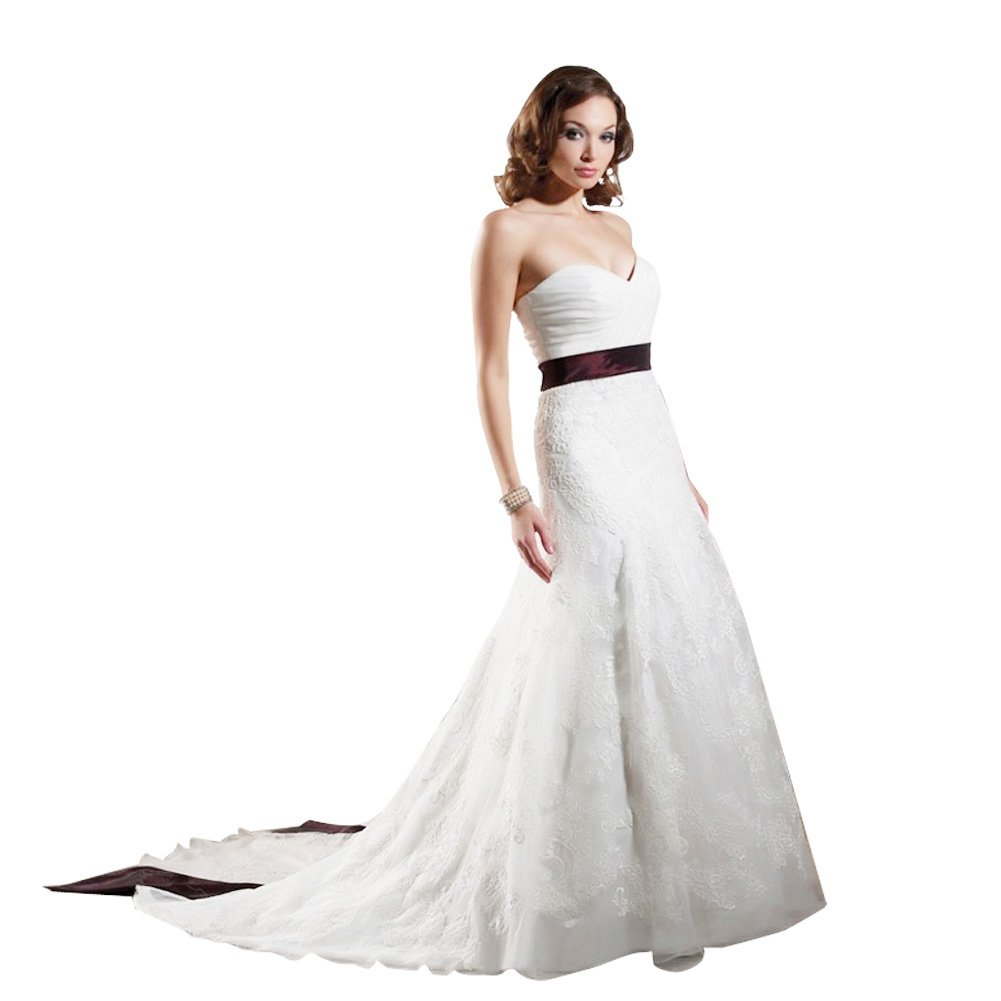 Glamorous A Line Strapless Chapel Train Taffeta And Lace Wedding Dress With Color Sarah