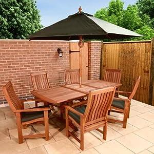 Billyoh Sovereign Rectangular 6 Seater Wooden Garden Furniture Set With Green Pads