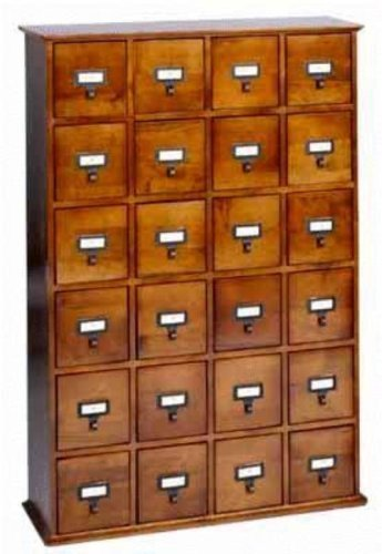 Leslie Dame 24-Drawer CD Media Storage Cabinet in Oak
