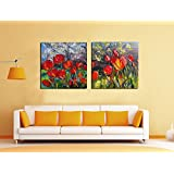 2 Painting Sets Of The Beauty Of Two Bunches Of Red Tulips Canvas Oil Painting Print With Wooden Mounting | Suryastores CANVAS CLOTH PAINTING PRINT , Size 31x31x5 Cms