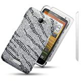 HTC ONE X ZEBRA STRIPED DIAMANTE DISCO BLING BACK COVER WITH 2 SCREEN PROTECTORS BY CELLAPOD CASESby CELLAPOD