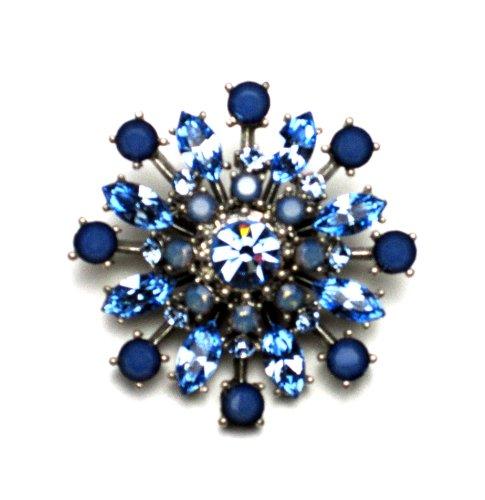 PILGRIM 280-605 Brosche, versilbert, blau