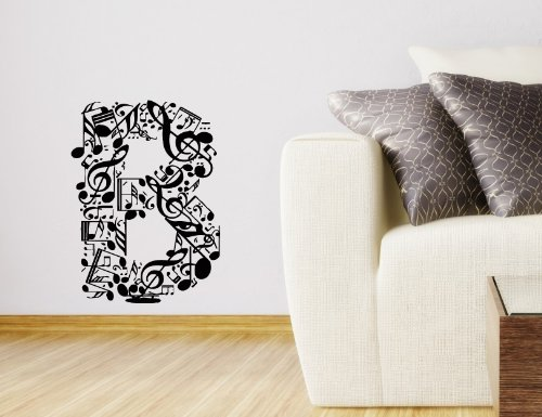 "Wall Vinyl Sticker Decal Art Design Abstract Alphabet ""B"" Made From Music Notes Room Nice Picture Decor Hall Wall Chu1072 back-566734"