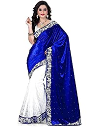Rangrasiya Women's Latest Design Party Wear Blue Velvet And Brasso Saree With Designer Blouse