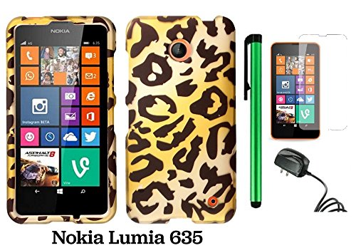 Nokia Lumia 635 Premium Pretty Design Protector Hard Cover Case (Us Carrier: T-Mobile, Metropcs, And At&T) + Screen Protector Film + Travel (Wall) Charger + 1 Of New Assorted Color Metal Stylus Touch Screen Pen (Gold Leopard)