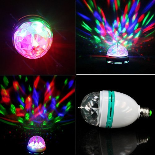 Happiness At Home® Design New Voice-Activated 3W E27 Crystal Rotating Rgb Led Stage Light Bulb Party Disco