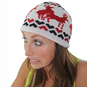 Red and White Humping Reindeer Beanie by Tipsy Elves
