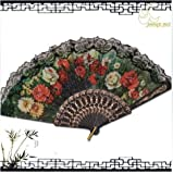 niceEshop(TM) Unique Spanish Decorative Flower Design Hand Folding Fan +Free niceEshop Cable Tie
