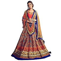 Bhelpuri Women Multi Colour Bhagalpuri Silk Semi-stitched Lehenga Choli