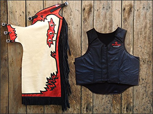 F24 Hilason Western Rodeo Bronc Bull Riding Smooth Leather Chaps Protective Vest (Protective Horse Riding Vest compare prices)