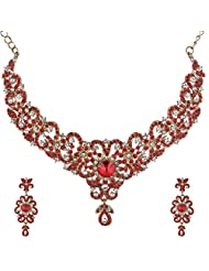 I Jewels Traditional Gold Plated Stone Necklace Set With Maang Tikka For Women (Red) (M4024R)