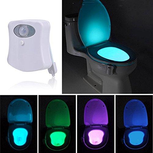 KINGSO LED Lampada Luce Di Notte Per WC/Ufficio/Bagno/Armadietto/Benna Locali Toilette, Sensore Di Luce Del Rivelatore Di Movimento Speciali a 8 Colori Del Cambiamento