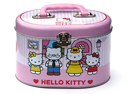 1-X-Hello-Kitty-Family-Oval-Tin-Train-Case-Sewing-Box