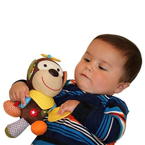 Abu-the-Monkey-Teether-Plush-ToyRelief-from-Teething-PainPerfect-for-Stroller-Crib-and-Car-Seat