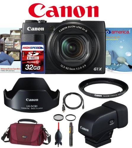 Canon G1X Mark Ii W/ Canon Evf-Dc1 Electronic Viewfinder, Canon Lh-Dc80 Lens Hood, Canon Fa-Dc58C 58Mm Filter Adapter, 32Gb Deluxe Kit front-583881