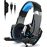 Kotion Each G9000 Gaming Headset Headphones 3.5mm Stereo Jack with Mic LED Light for Xbox One S/Xbox one/PS4/Tablet/Laptop/Cell Phone (Black Blue) (Color: Black Blue)