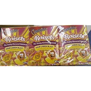 Champion Raisels Sour Lemon Blast Fruit Flavored Raisins 6 Boxes