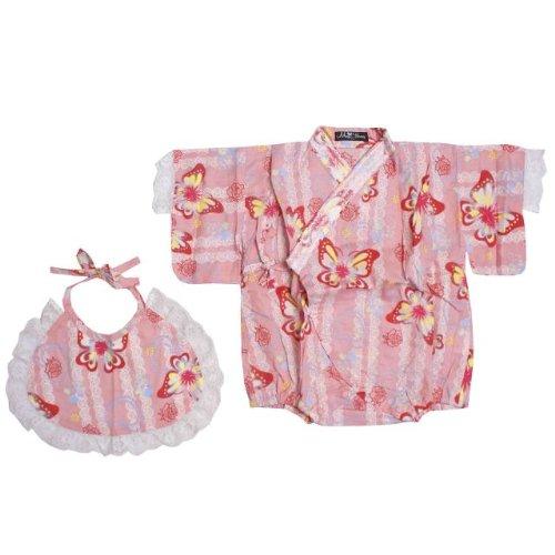 甚平 ベビー 女の子 レースが可愛い 蝶とレース柄 甚平(じんべい) ロンパース スタイ付き ピンク 80