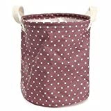 23*26cm Cotton Linen Storage Clothes Basket Laundry Hamper Daily Stuff Bag (Color: purple ,Pattern: dot)