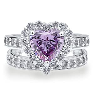 Sterling Silver 925 Heart Lavender Cubic Zirconia CZ 2pcs Ring Set - Nickel Free Engagement Wedding Ring Set Size 6