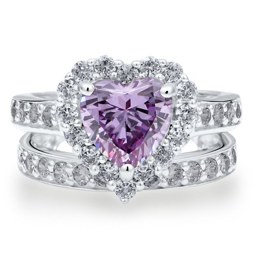 Sterling Silver 925 Heart Lavender Cubic Zirconia CZ 2pcs Ring Set - Nickel Free Engagement Wedding Ring Set Size 4