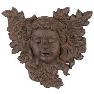 Hanging Cast Iron Mystical Girl Face Yard Wall Art Tree Plaque