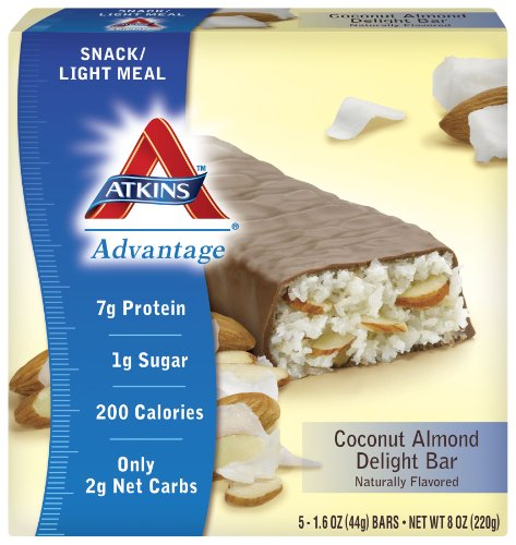 Atkins Advantage Coconut Almond Delight Bar, 5-Count (Pack of 6)