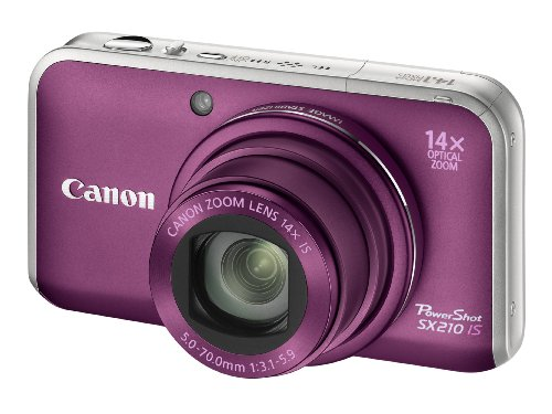 Canon PowerShot SX210 IS Digital Camera - Purple (14.1 MP, 14x Optical Zoom) 3.0 Inch PureColor LCD