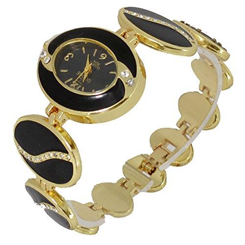 ll2-black-enamel-ladies-yellow-gold-tone-diamante-bracelet-wrist-watch