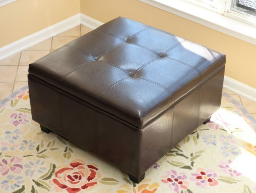Home Life Storage Coffee Ottoman Dark Brown Espresso & Black - Lift Top Bench (Dark Espresso Ottoman compare prices)