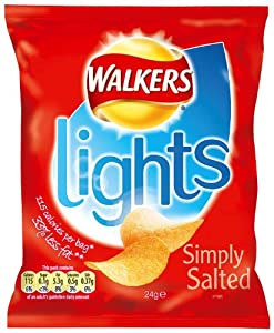 Walkers Lights Ready Salted 24 g (Pack of 24)