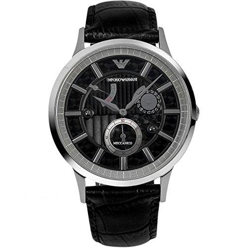 Emporio Armani  AR4664 - Reloj de manual para hombre, con correa de cuero, color negro
