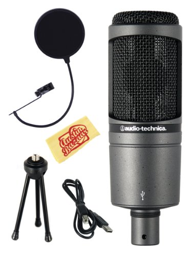 Audio-Technica At2020Usb Condenser Usb Microphone Bundle With Pop Filter, Tripod Stand, Usb Cable, And Polishing Cloth