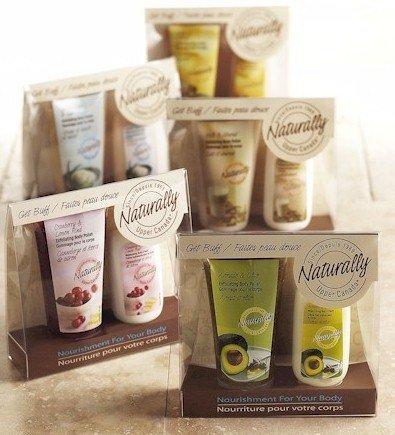 Naturally Get Buff Gift Set: Exfoliating Body Polish Scrub & Moisturizing Body Cream, Avocado & Olive