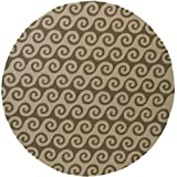 8' Wave Reflections Light and Dark Brown Round Hand Hooked Outdoor Patio Area Throw Rug