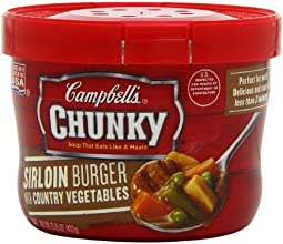 Campbell39s Chunky Sirloin Burger with Country Vegetables Soup 1525 Ounce Microwavable Bowls Pack of
