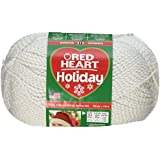 Coats Yarn Red Heart Holiday Yarn, White W/Silver Metallic