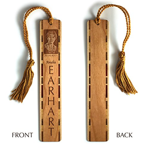 amelia-earhart-engraved-wooden-hand-made-bookmarks-with-copper-rope-tassel