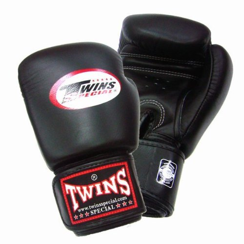 Twins boxing gloves made of leather 8 oz Black
