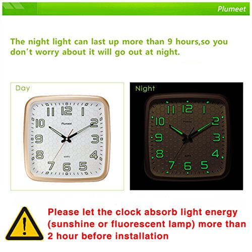 Plumeet 14-Inch Wall Clock with Classics and Specified Design of Silent Non-Ticking Night Lights for Indoor Kitchen Large Number Battery Operated (Gold) 3