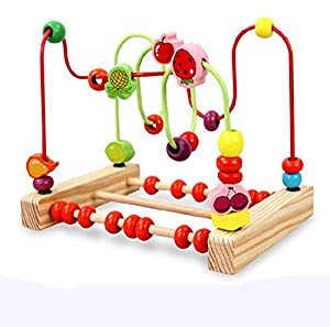 YIXIN Large Wooden Circles Bead & Wire Maze Roller Coaster with Fruit Pattern Early Education Toys for 1 Year Old