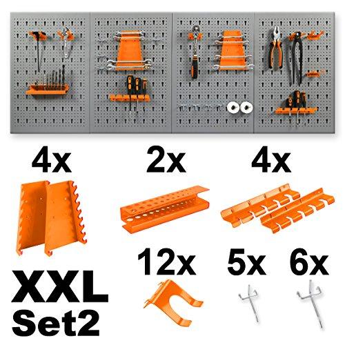 Werkzeugwand-Werkstattwand-inklusive-Haken-wahlweise-mit-11-oder-22-tlg-Halterungsset-in-XL-oder-XXL-Ausfhrung-Lochwand-Werkzeughalter-XXL-Werkzeugwand-2x-Halterungsset