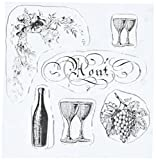 Something Tattered August Aout French Month Clear Stamps, 4 by 4-Inch