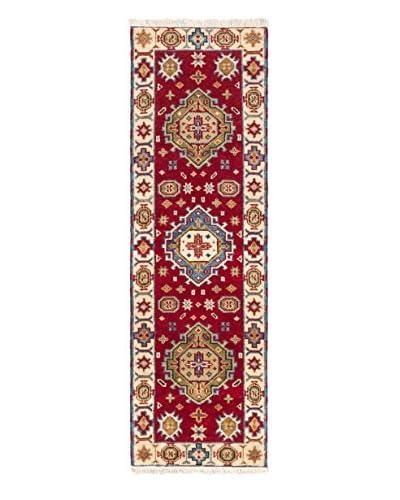 "Hand-Knotted Royal Kazak Wool Rug, Dark Red, 2' 1"" x 6' 9"" Runner"