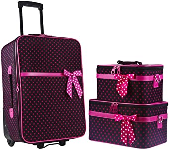 Amazon.com: Ever Moda Black Chevron 3 Piece Carry On Rolling Luggage