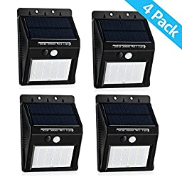 Solar Sensor Wall Light, 20 LED Wireless Waterproof Outdoor Lights For Deck, Pathway, Driveway, Garden, with Dim Mode Black (4pack)
