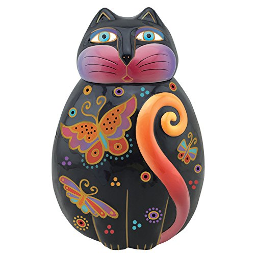 Westland Giftware Flutterbye Feline Ceramic Cookie Jar, Multicolor