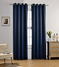 MYSKY HOME Solid Grommet top Thermal Insulated Window Blackout Curtains for Kids Bedroom, 52 by 95 inch, Navy (1 panel)