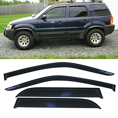 4pcs Front + Rear Car Sun Rain Guard Vent Shade Window Visor Wind Deflector Non In Channel for 01-07 Ford Escape (Ford Escape Rear Window Shades compare prices)
