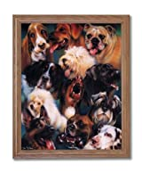Puppy Dog Collage Kids Room Home Decor Wall Picture Oak Framed Art Print